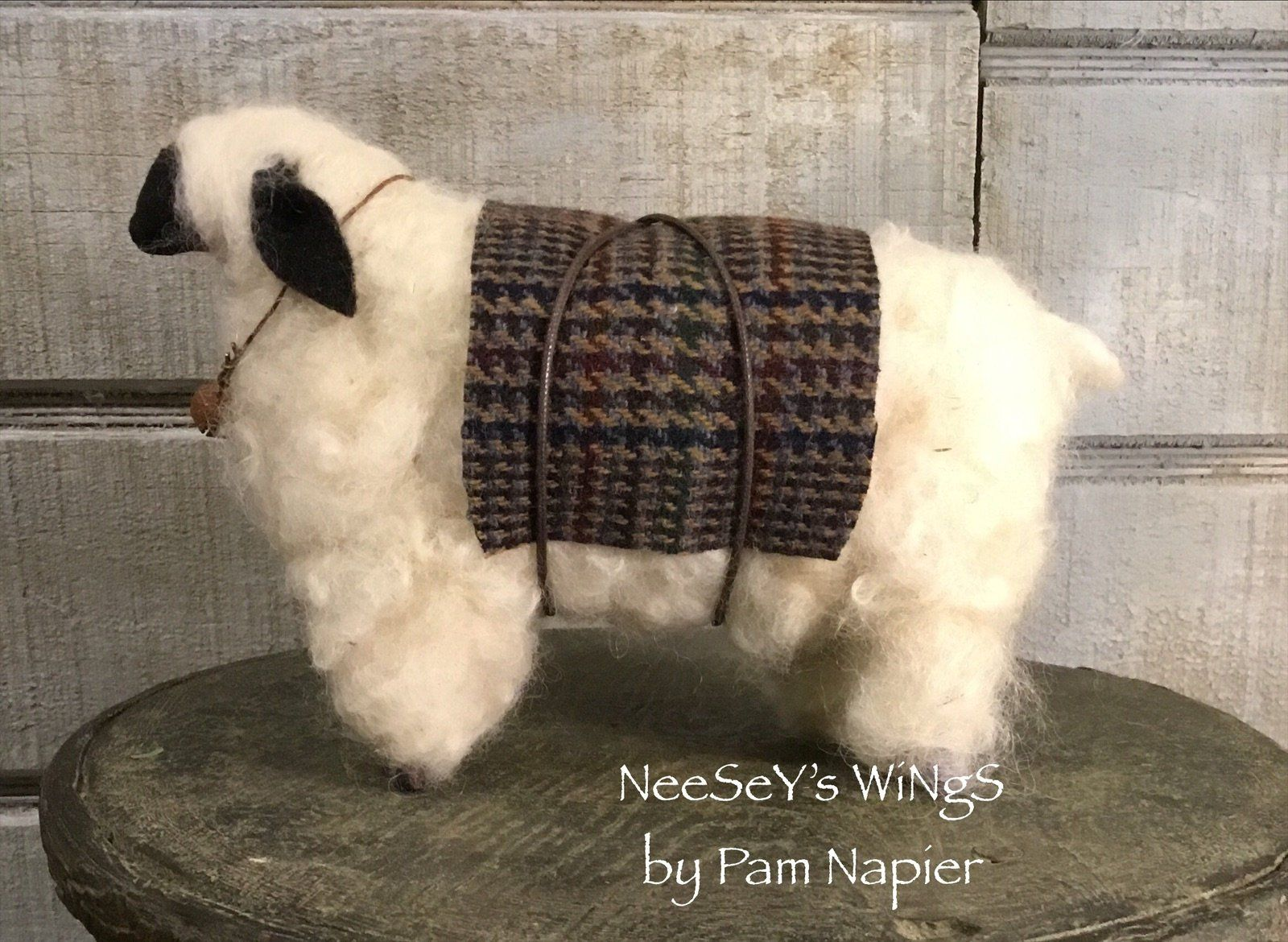 Primitive Country Style Woolly Sheep with Rusty Bell
