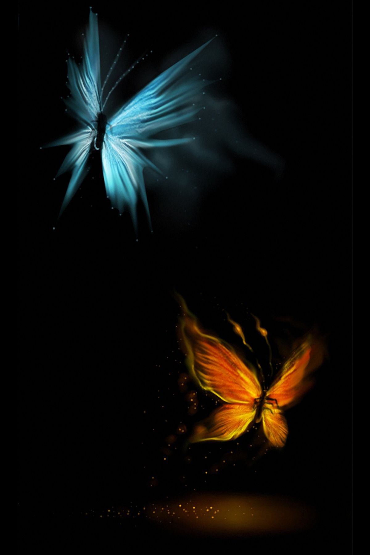 beautiful glowing butterflies android wallpaper