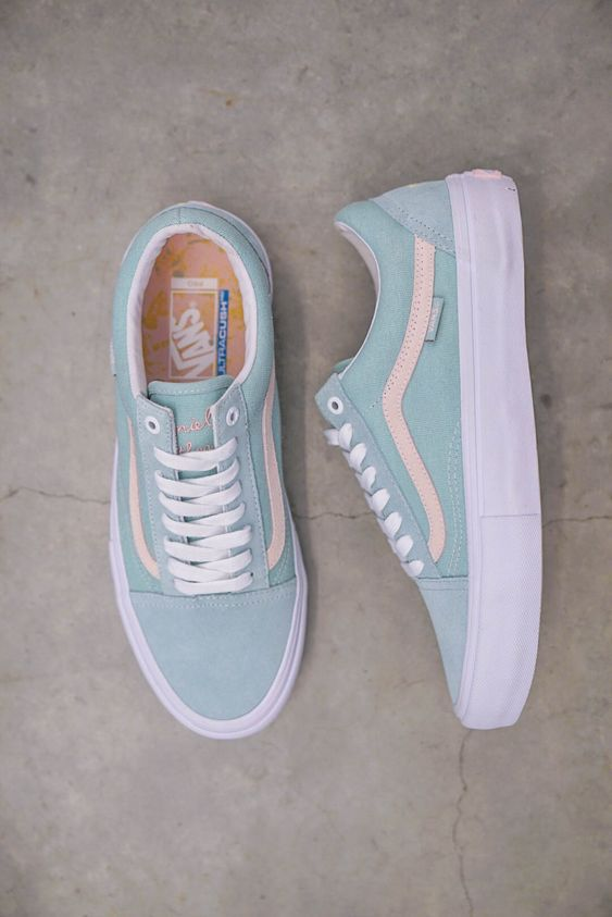best sneakers 09807 1b26d Get shredding in a pair of classic Vans Old Skool Pro in a special Dan Lu  colorway in Light Green and Pearl. This light green and pink pair of Old  Skools ...