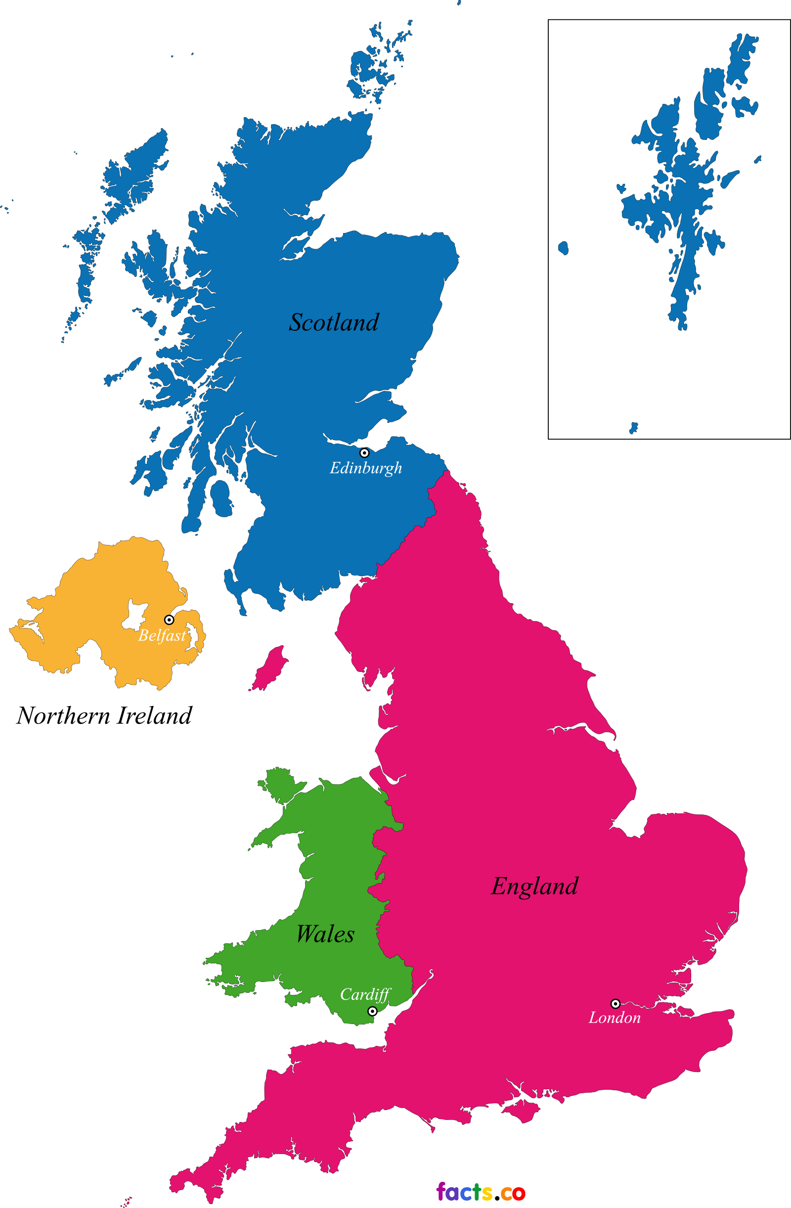 UK Map blank Political UK map with cities Per ragazzi