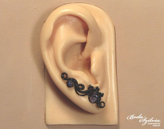 GOTHIC EAR PINS  wire wrapped ear pin black by bodaszilvia on Etsy