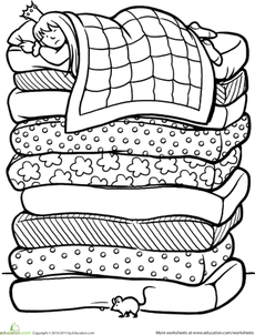 Color The Princess And The Pea School Stuff Fairy Tales