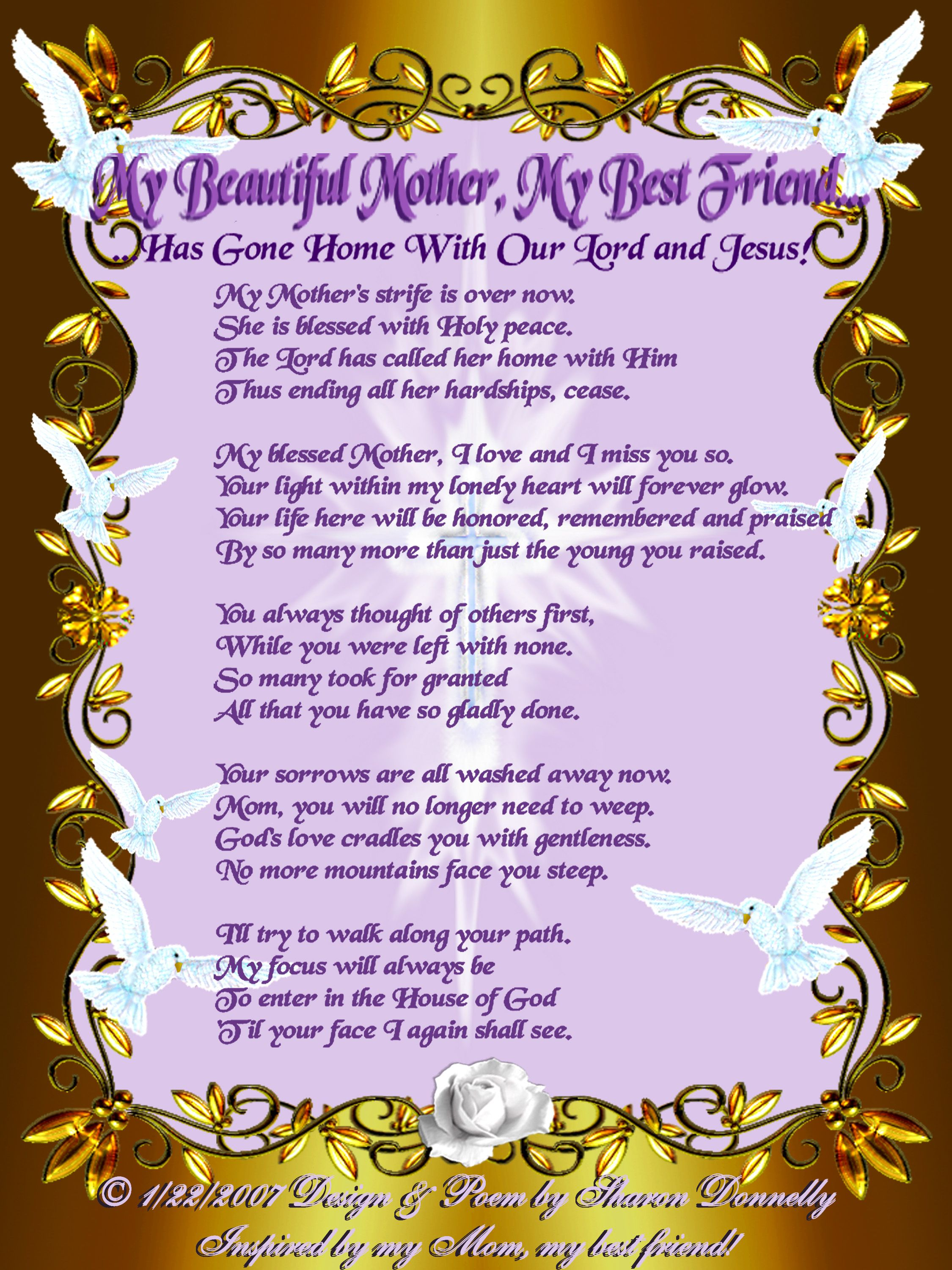 Memorial Poems Mother | with mom s memorial poem the image i made ...