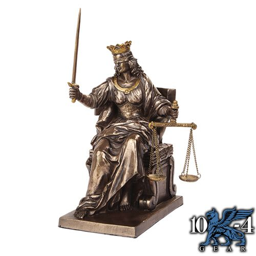 9762 Seated Justice Statue is cast in hand painted resin.  5″ x 5″ x 9″