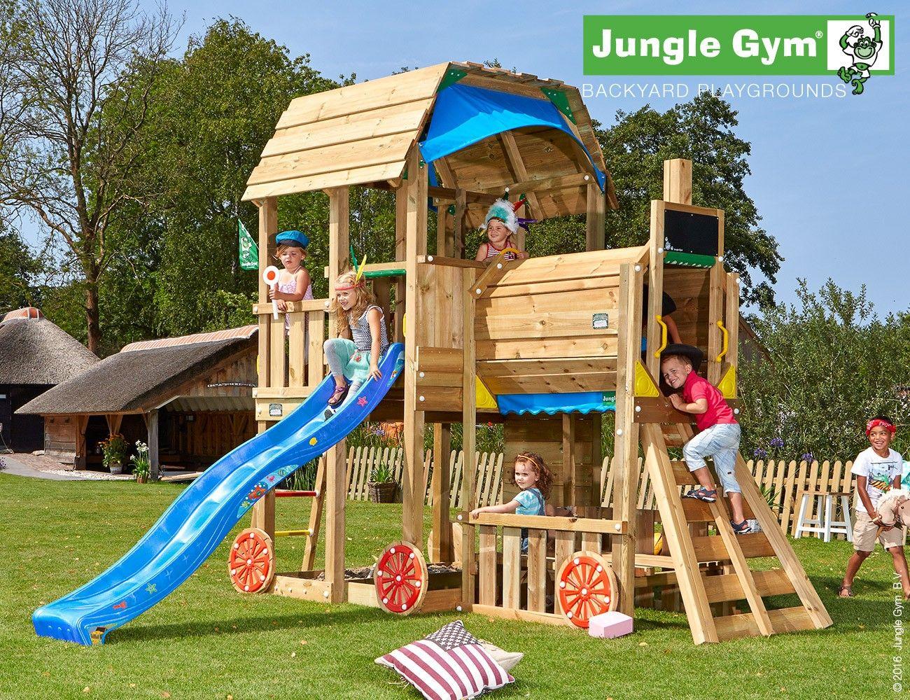 Klettergerüst Jungle Gym : Jungle gym barn with slide and additional module house pinterest