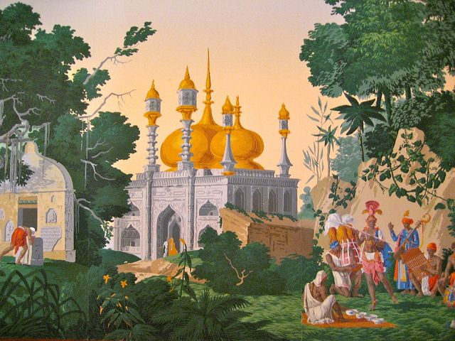 French Scenic Wallpaper Depicting India At The Imperial A Colonial Era Hotel In Delhi Scenic Wallpaper Wallpaper Mural Wallpaper