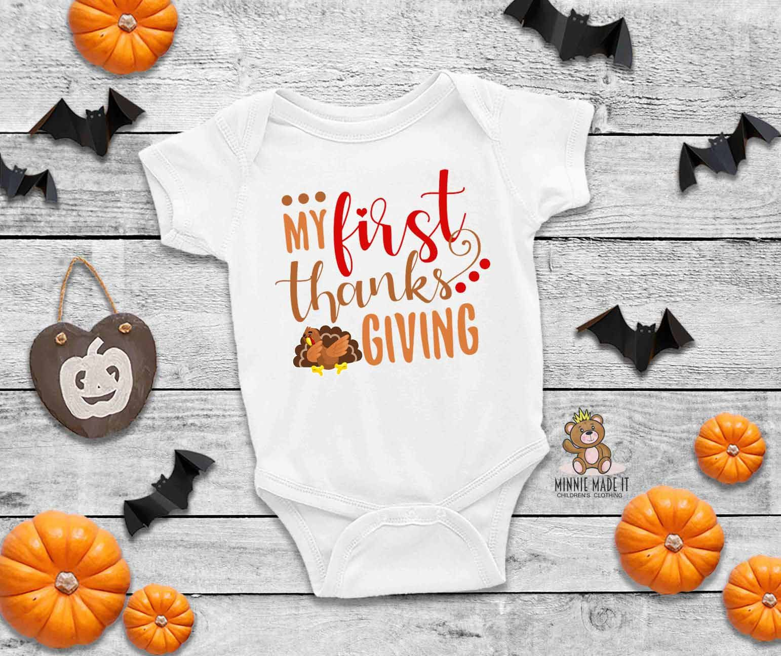 Personalized Name Pumpkin Baby Bodysuit Baby Announcement Thanksgiving Holiday Halloween Baby Gift Custom Baby Shower Gift