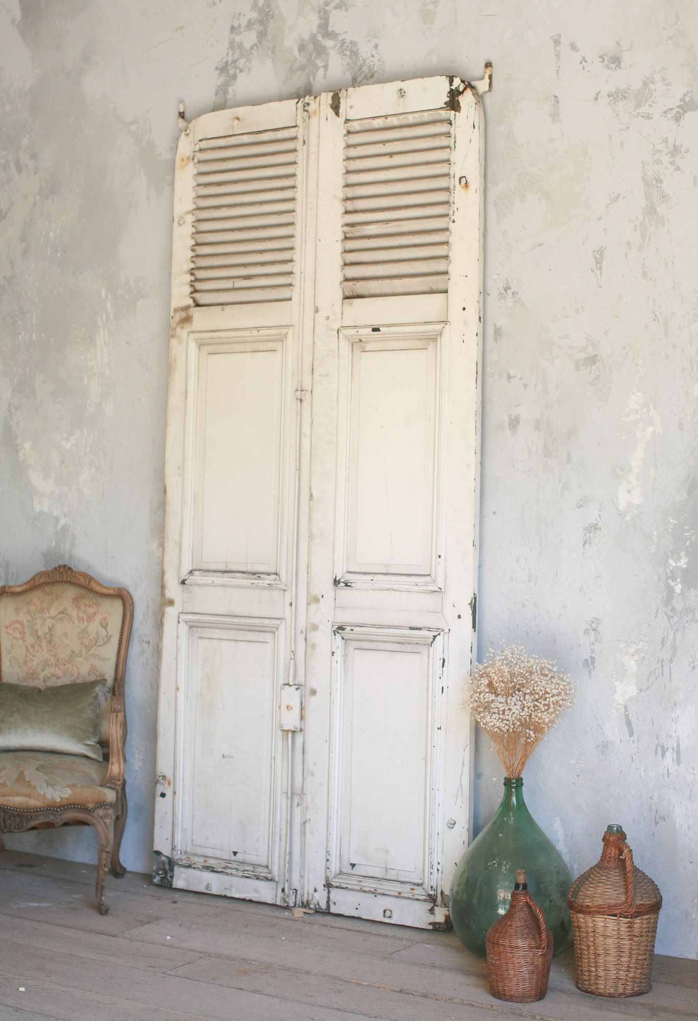 lovely old white weathered vintage door with French feel  decor