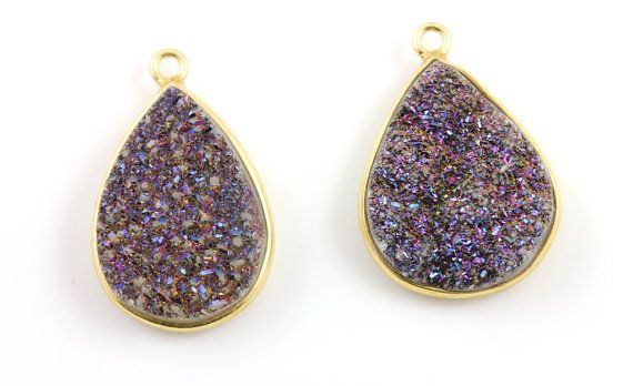 Purple Sparkly Druzy CrystalPear Component AAA by Beadspoint, $9.99