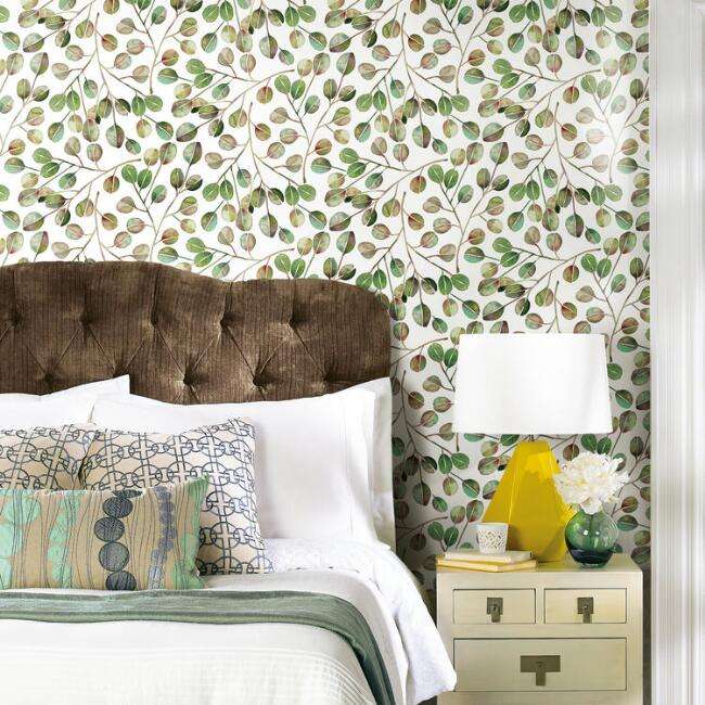 Cat Coquillette Eucalyptus Branch Peel And Stick Wallpaper V3 Peel And Stick Wallpaper Room Visualizer Roommate Decor