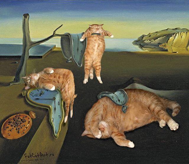 "fatcatartru: "" Salvador Dali, ""The Persistence of Meowmory"" #fatcatart…"