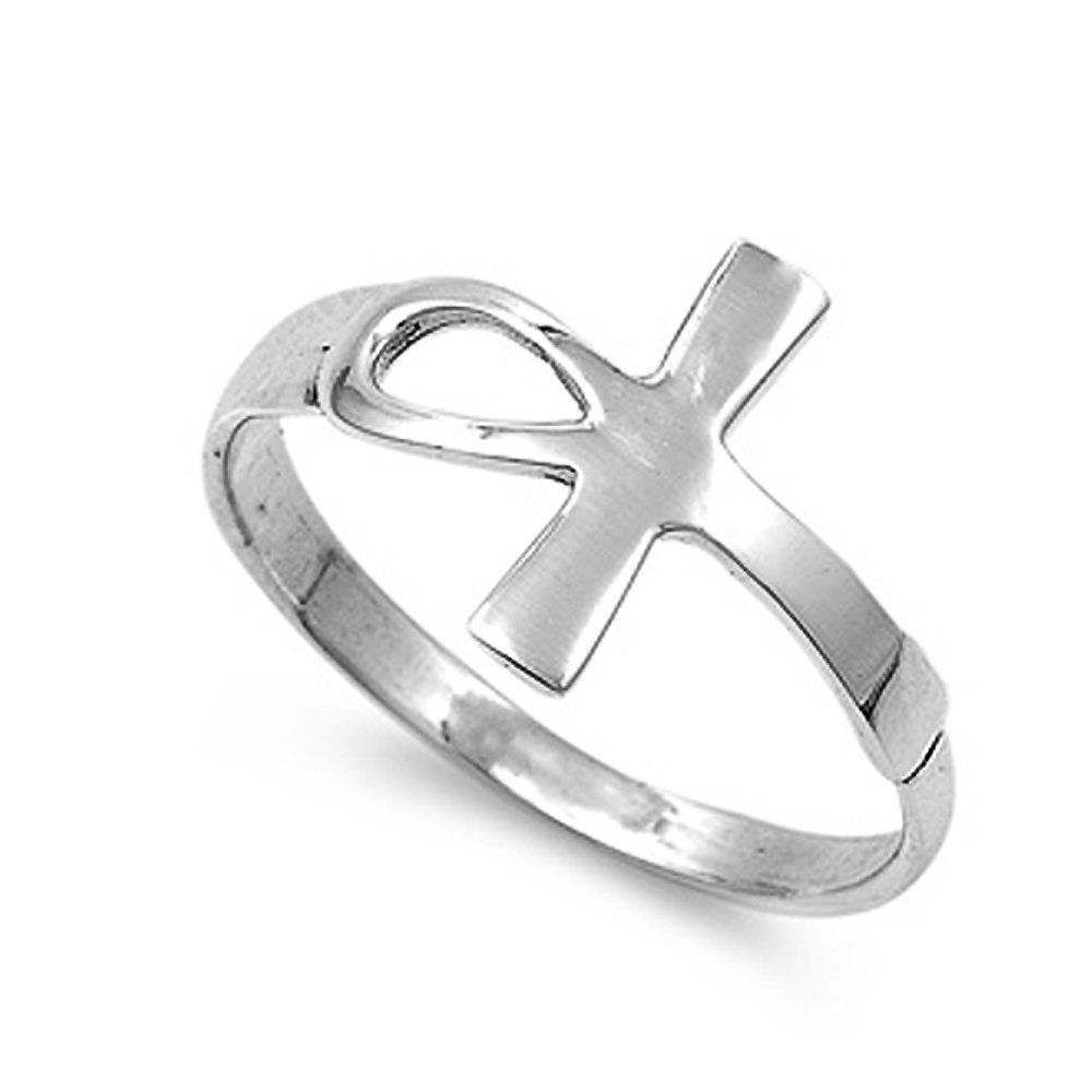 Sterling Silver Polished Sideways Ankh Cross Ring - size 7