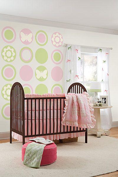Flowers Nurseries on Dots  Stripes  Butterfly   Flower Silhouette Nursery Wall Decals   Kid
