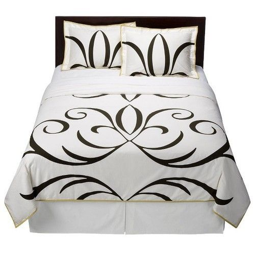 New Dwell Studio Full Queen Comforter And Shams Set Baroque Black White Grn Trim Dwell Studio Duvet Sets Target Bedding