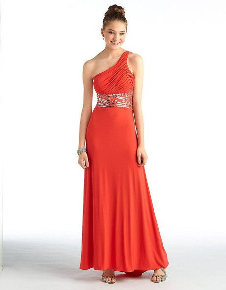 8b694f8489b Betsy   adam One-shoulder Gown with Beaded Waist in Orange (cerise ...