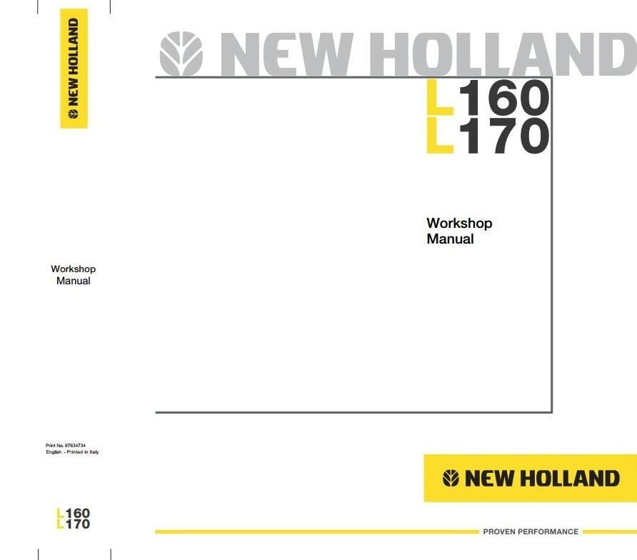 new holland w110b workshop manual: new holland skid steer loader l160,  l170 workshop service
