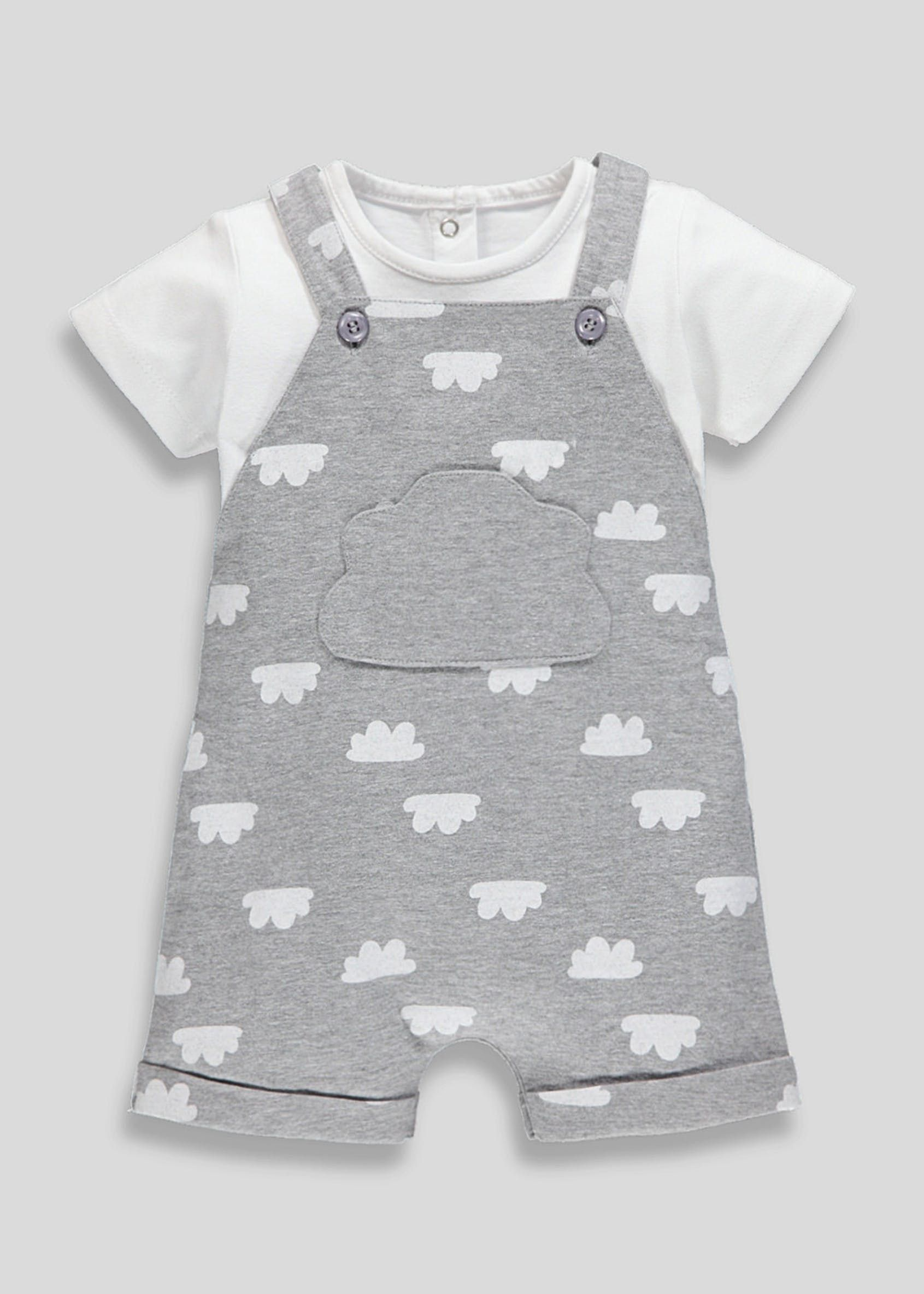 top design largest selection of large assortment Unisex Cloud Romper & T-Shirt Set (Newborn-18mths) – Grey ...