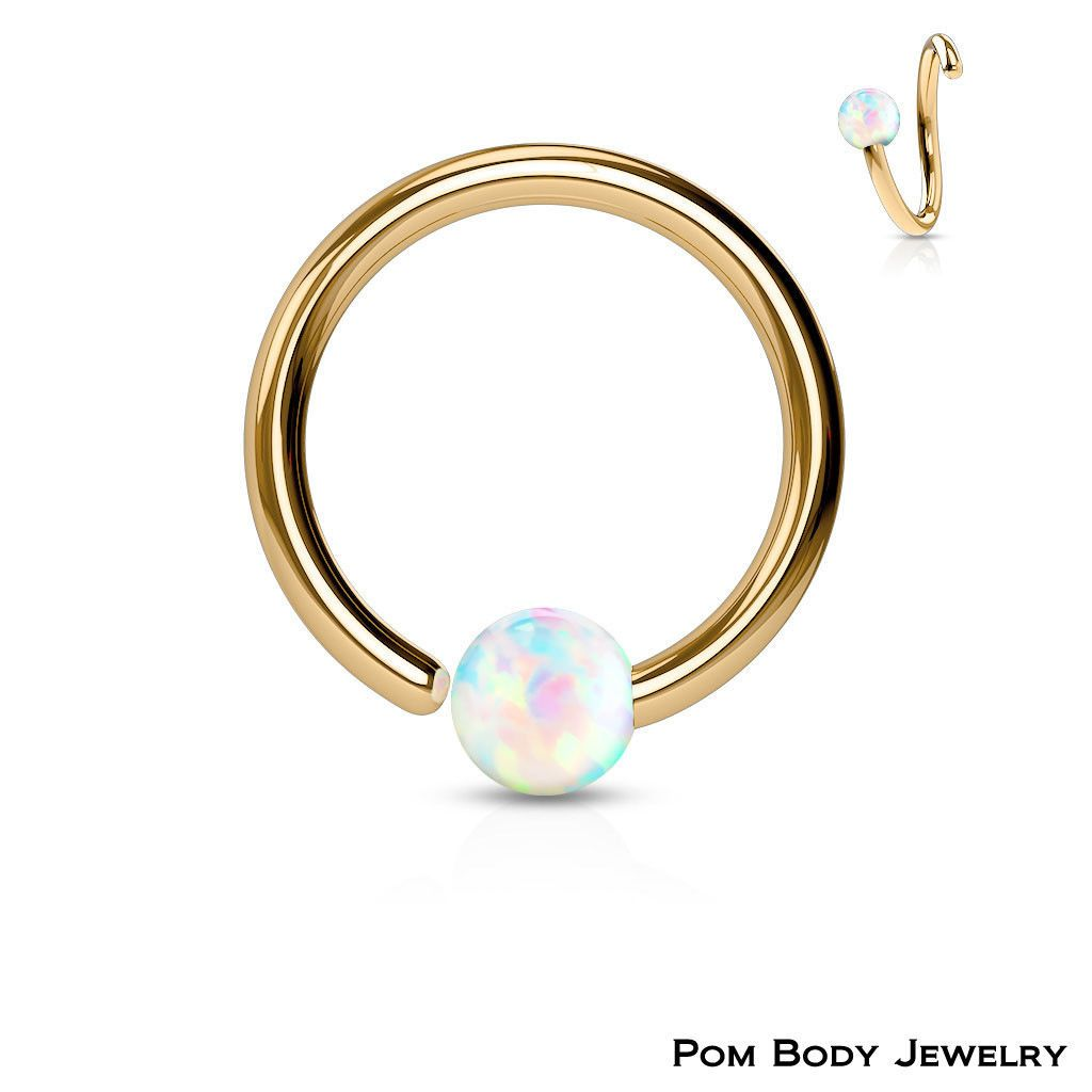 512f2a429 Rose Gold Ip Captive Bead Ring White Opal Ball