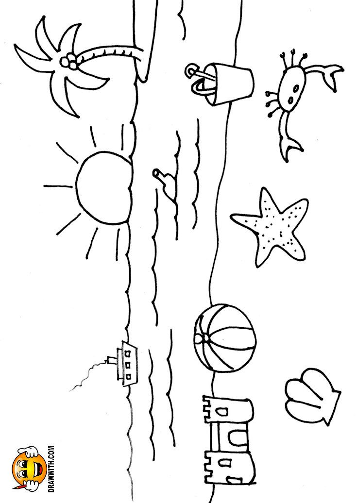 Free Beach With Toys Coloring Page For Kids Which Includes A Color Along Video Tutorial