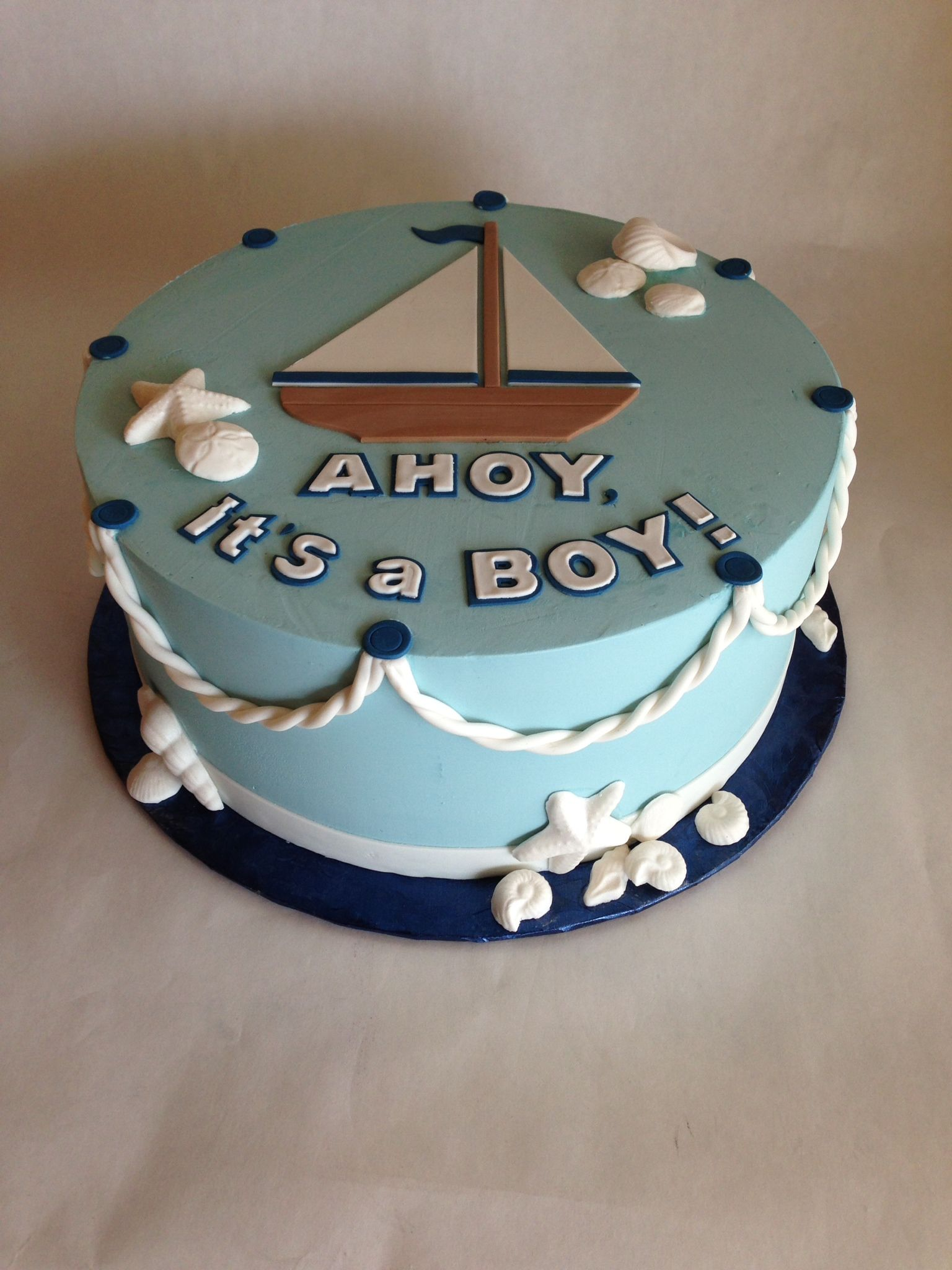 Baby Shower Cake | Nautical | Baby Boy | Rope | Sailboat | Sea | Ocean