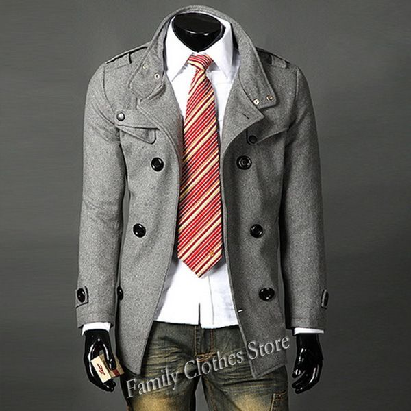 New Arrival Pea Coat Fashion Designer Mens Fitted Coat Men Slim ...
