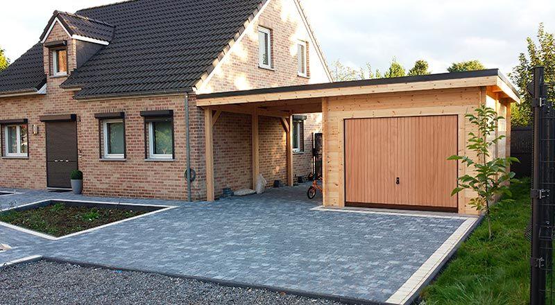 garage bois avec un carport toit plat  Idées garage  Pinterest  ~ Extension Garage Bois Toit Plat