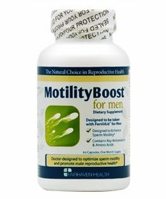 http://www.fairhavenhealth.com/motilityboost.html# MotilityBoost for Men is designed to specifically address low motility issues, $19.95