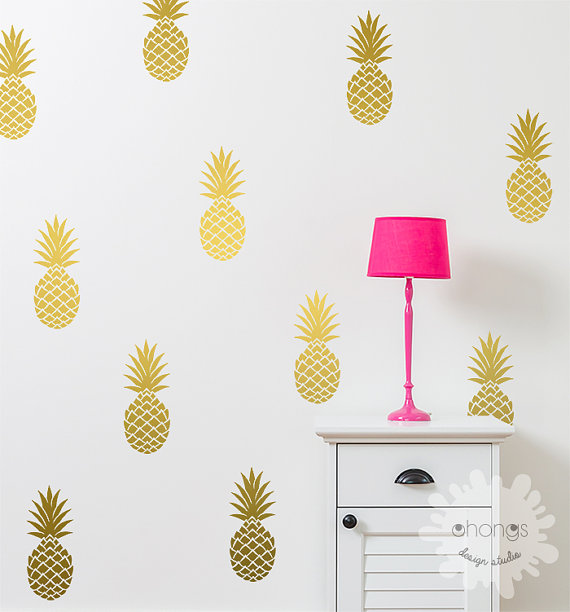 Pineapple Wall Decal Large Pineapples By OhongsDesignStudio - Vinyl wall decals home party