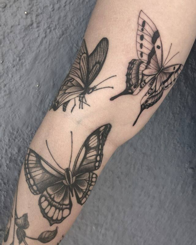 Photo of Black and gray butterfly tattoo for women
