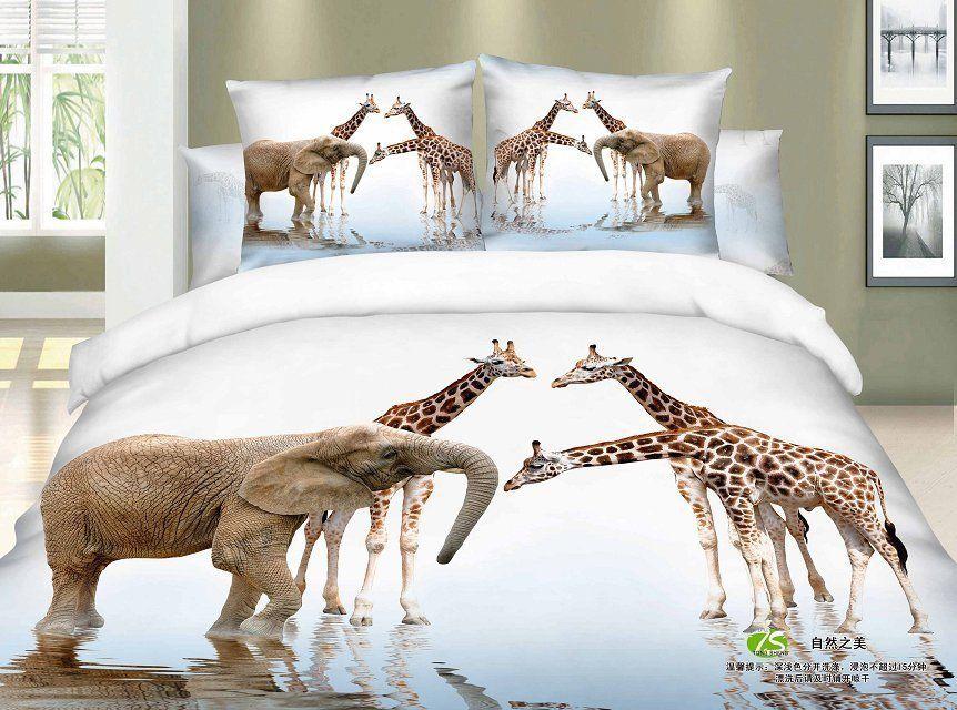 Girlsbeddingplus Com Giraffe And Elephant 4pc Bed Set Free