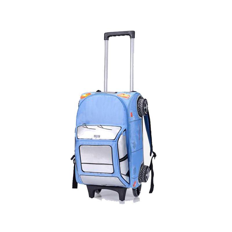 hot cartoon car trolley school bag boys new wheeled backpack school children removable 3d car