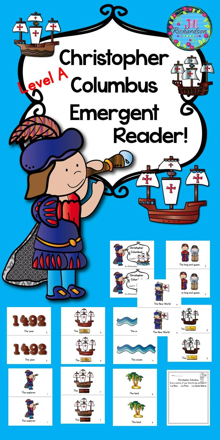 christopher columbus emergent reader guided reading level a will help your early readers celebrate columbus day included 9 page booklet in color and black  [ 768 x 1536 Pixel ]