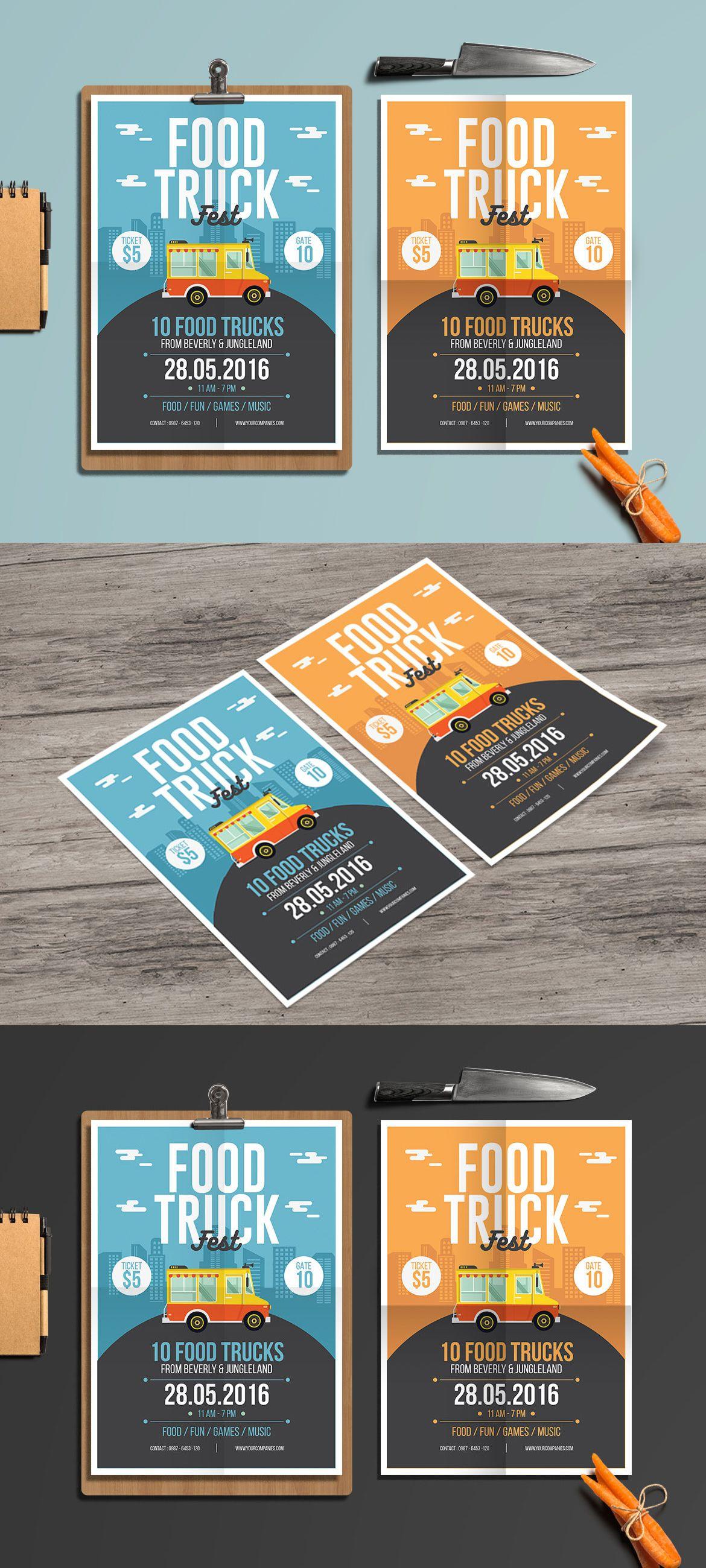 Food Truck Flyer Template AI PSD Flyer Templates Pinterest - Food truck flyer template