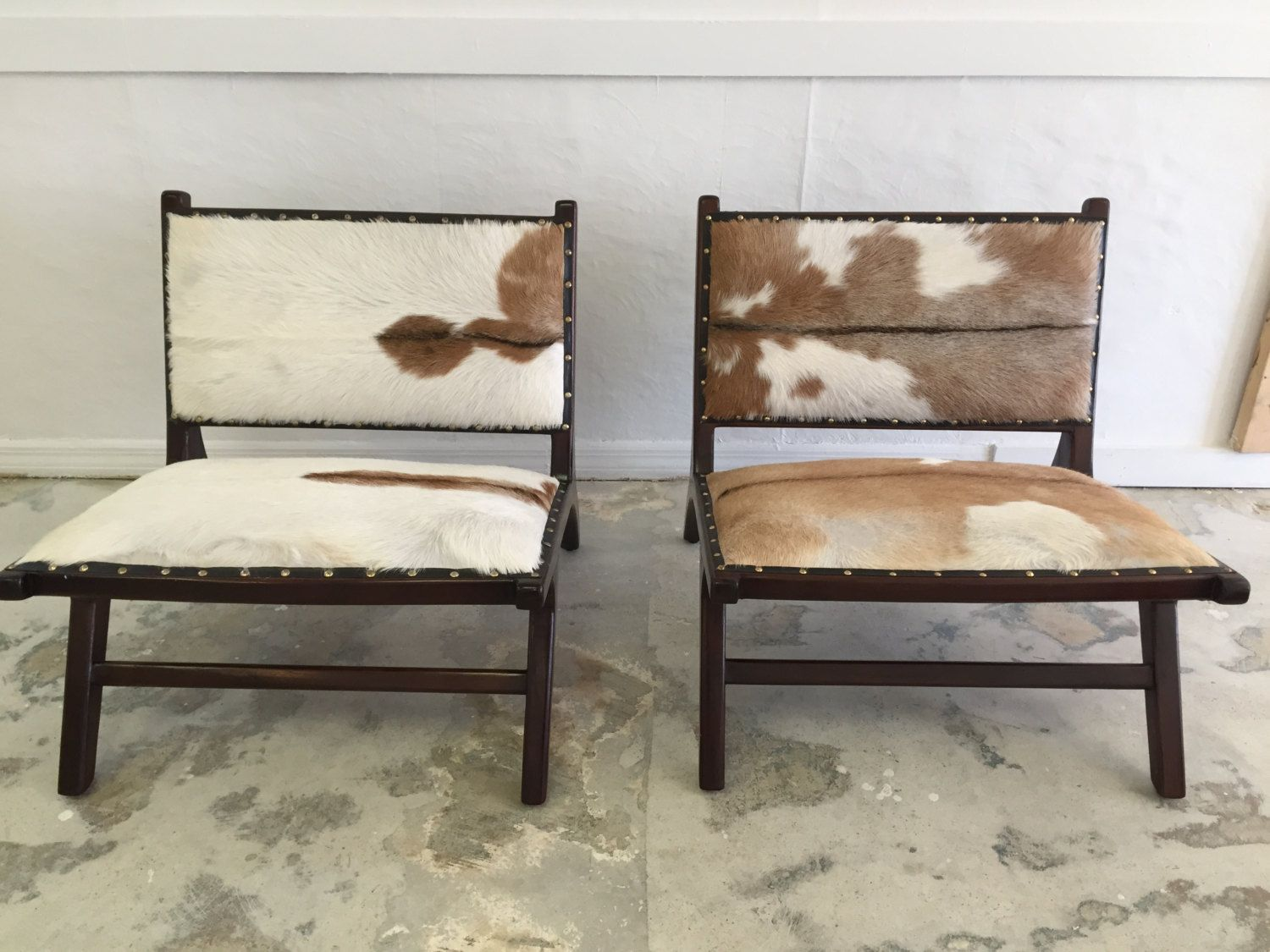 Pair of Vintage Wood Living/bedroom Chairs with Cowhide by SoAkiba on Etsy