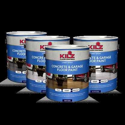 Kilz 1 Part Epoxy Acrylic Concrete Garage Floor Paint Primers Specialty Paints Concrete Care Prod Garage Floor Paint Concrete Garages Painting Concrete