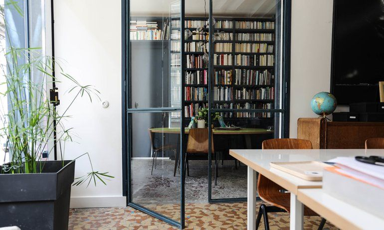 Bureau bibliothèque appartement camille hermand architectures