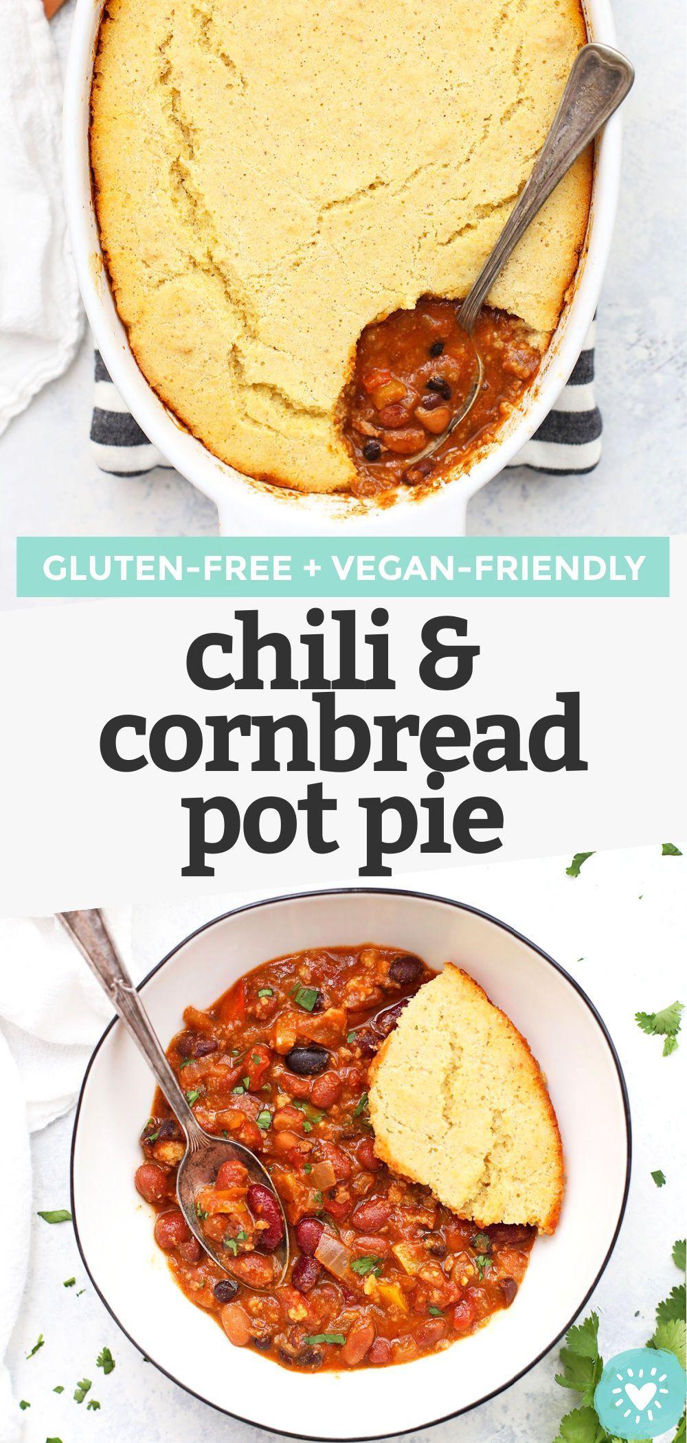 Chili Cornbread Pot Pie Gluten Free Vegan Friendly Recipe In 2020 Gluten Free Recipes For Dinner Pot Pies Recipes Chili And Cornbread