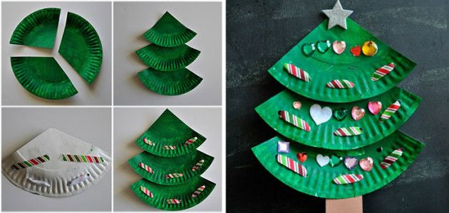 Rbol de navidad con platos desechables manualidades - Detalles de navidad manualidades ...