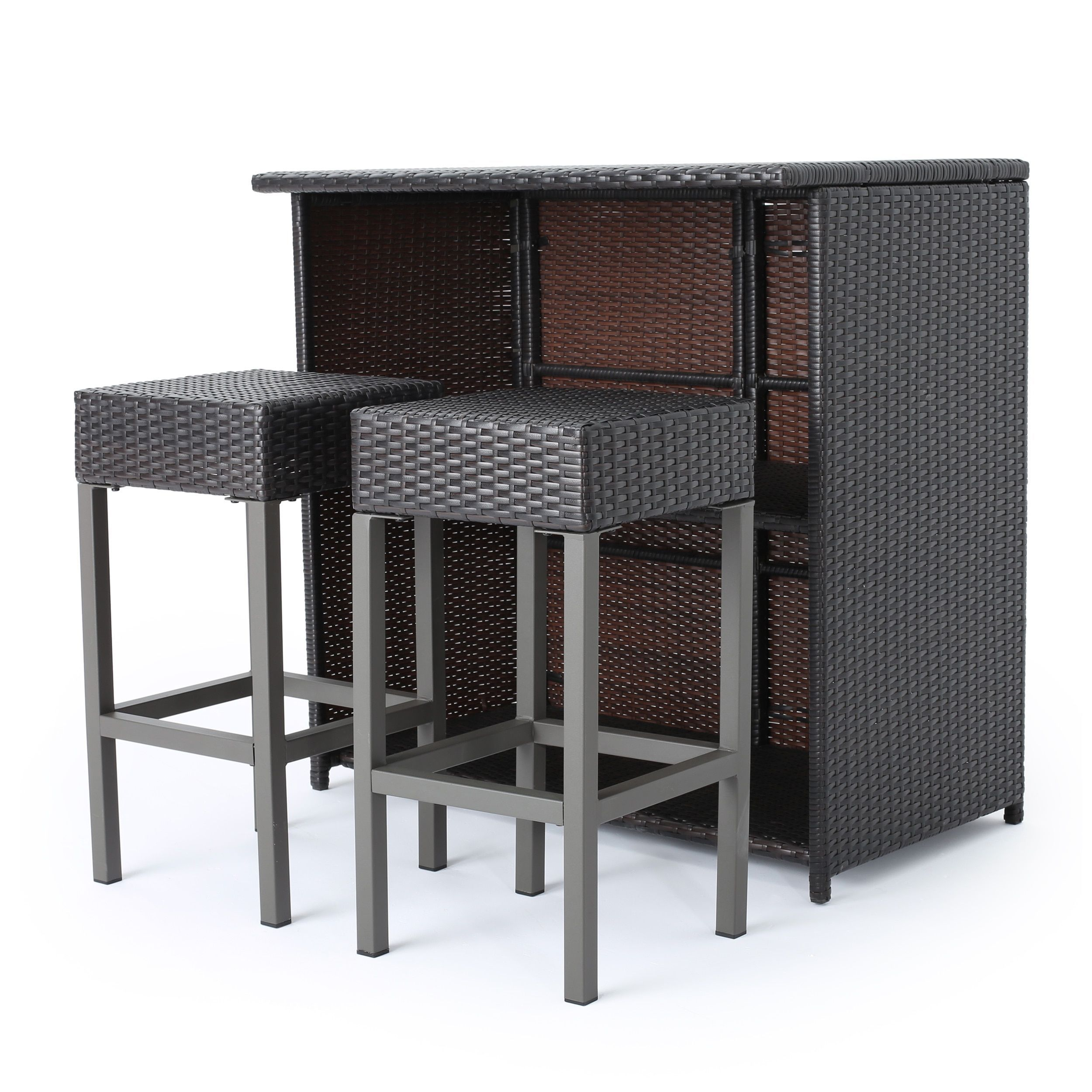 Astounding Toronto Outdoor 3 Piece Wicker Bar Island Set By Christopher Home Interior And Landscaping Pimpapssignezvosmurscom