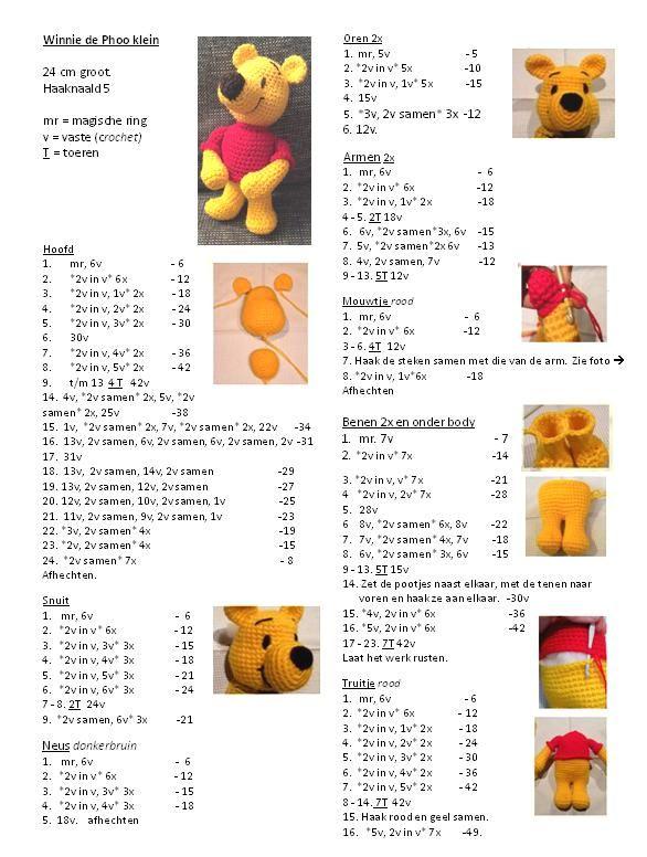 Winnie de Phoe. 24cm gratis patroon | Patrones amigurumi | Pinterest ...