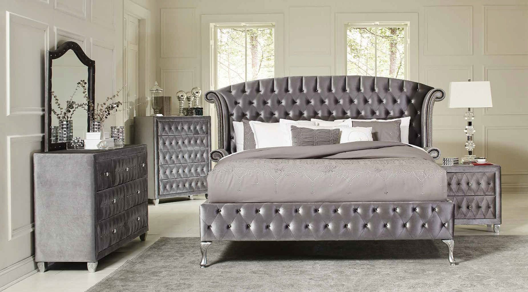 This Fully Upholstered Deanna Bedroom Set By Coaster Furniture