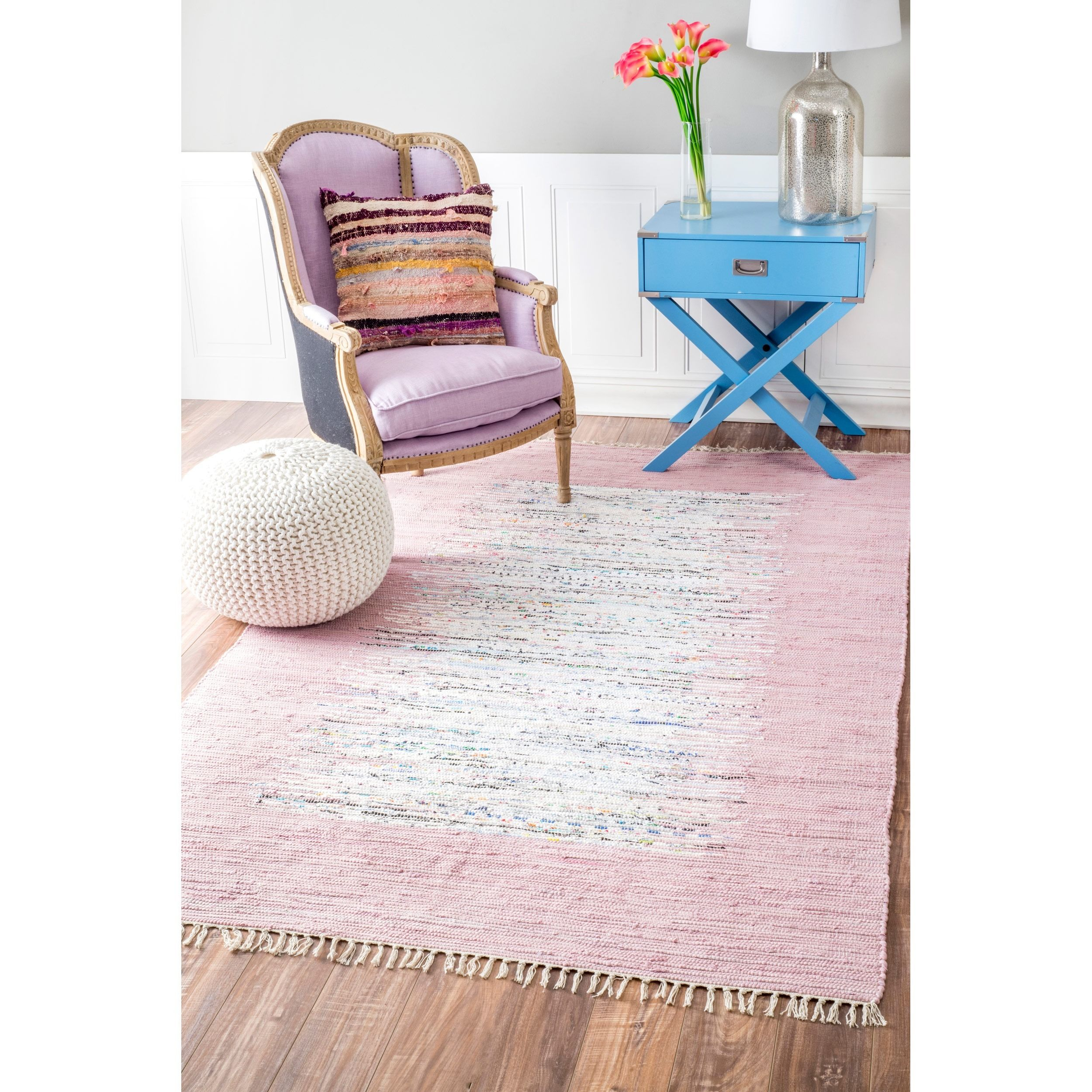Beautiful Find A Place In Your Home For This Beautiful Lavender Kilim Flatweave Rug.  The Unique Flat Woven Design Has No Pile, And Is A Highly Sought After Look. Nice Look