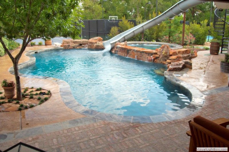 Cool Swimming Pools With Slides slide from deck = cool!   outdoors   pinterest   pools, awesome