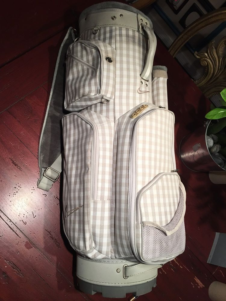 Light Weight Ladies Nike Tan Gray Cream Plaid Carry Golf Bag Caddy Preowned   dbe523a55bd2a