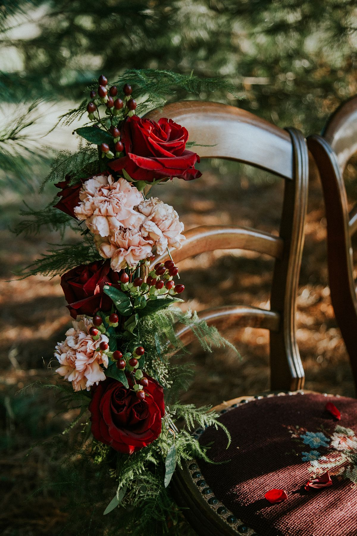 Wedding decorations red  Vintage Red and Gold Winter Wedding Inspiration  Winter Wedding