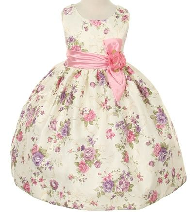 36ff98ed1bc Pink Print Easter Flower Girl DressStyle 529 Pink Jaccard Flower Girl Dress  This pink flower print sleeveless dress is an adorable garment for dress up  for ...