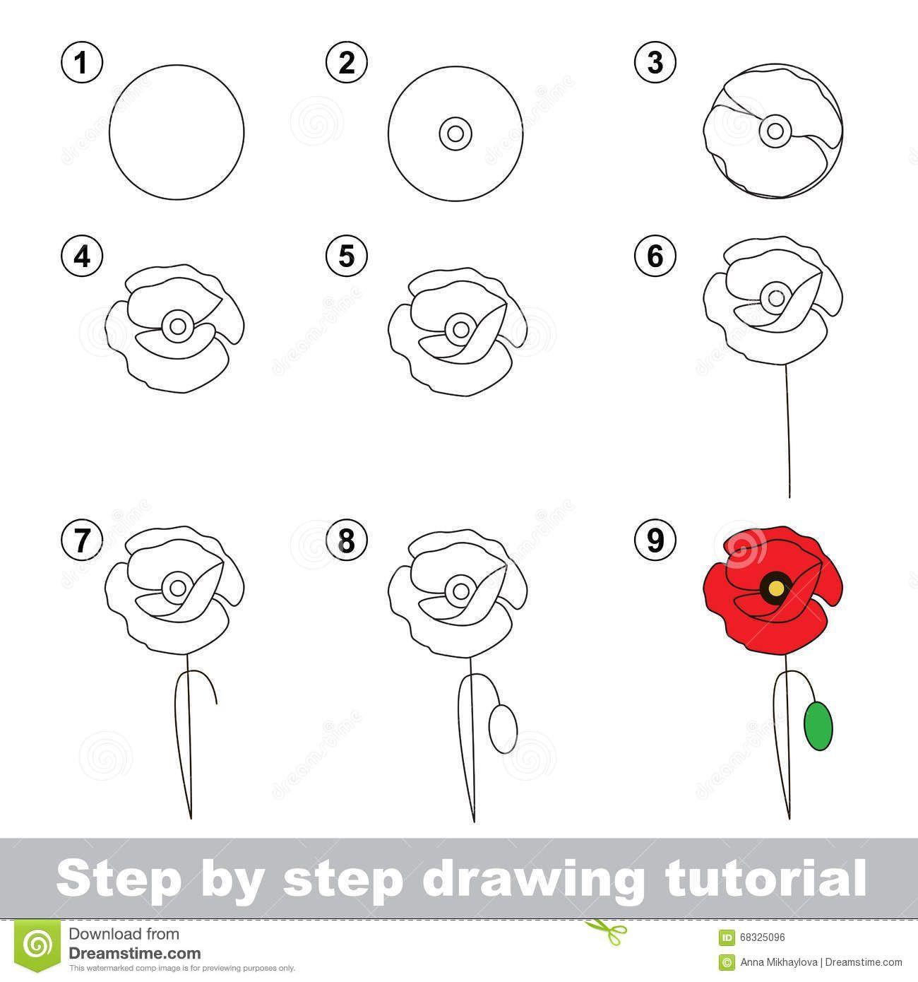 Zeichen Tutorial Wie Zeichnet Man Eine Mohnblume Stock Vektorgrafik Illustration Of Cartoo In 2020 Zeichnung Tutorial Mohnblume Blumen Skizzen
