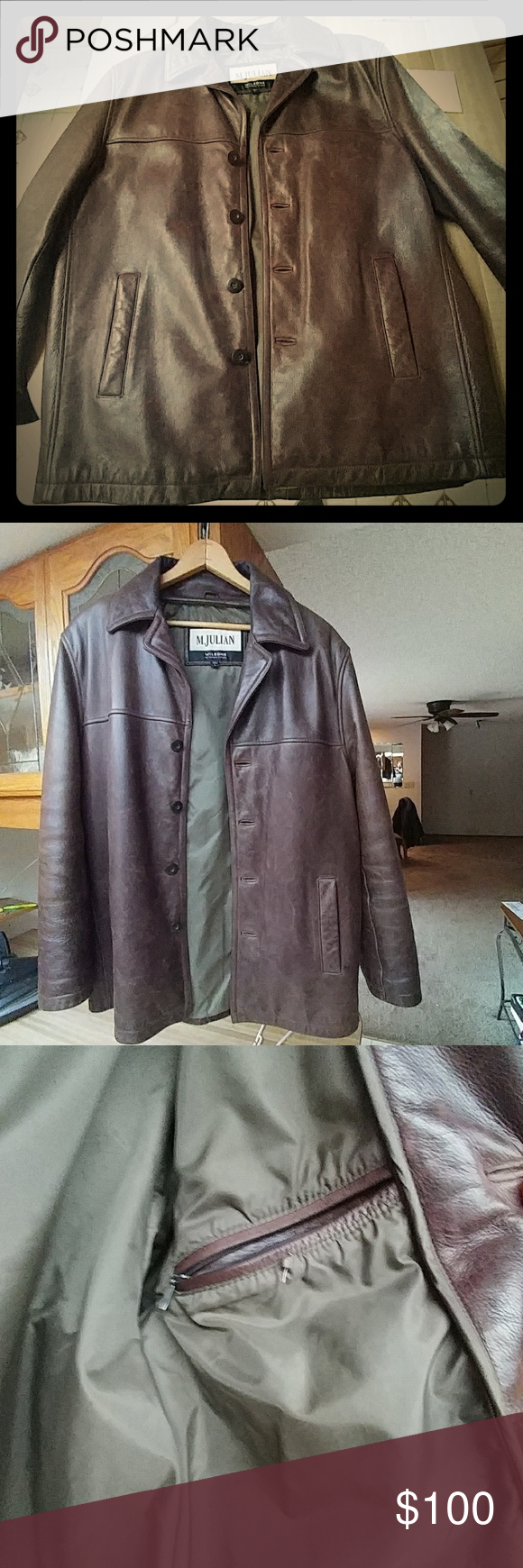 M.Julian/Wilson's Mens Leather Coat Dark brown leather