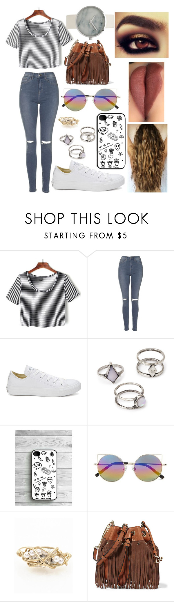 """""""Black&White"""" by rebecapaynefarro on Polyvore featuring WithChic, Topshop, Converse, Forever 21, Linda Farrow, Kat&Bee and Diane Von Furstenberg"""