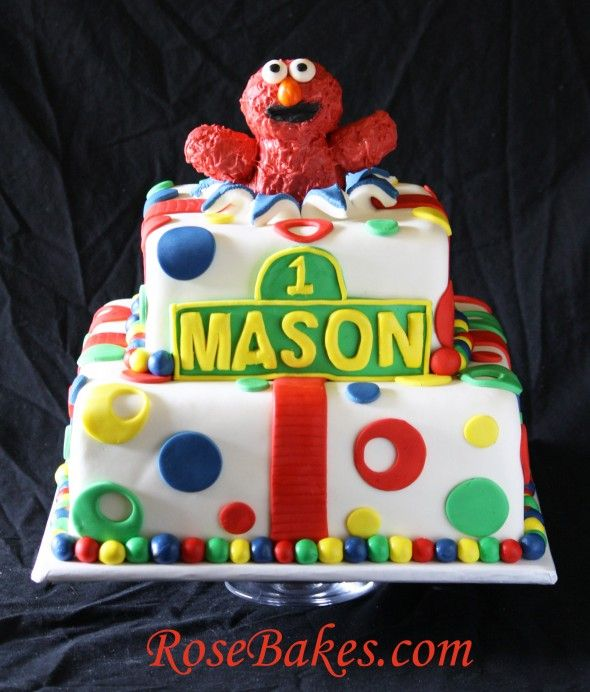1st Birthday Elmo Bursting Out of a Cake Smash Cake Elmo